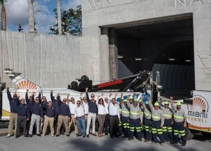 The Transfield Services Infrastructure team celebrated at the Dodge Island portal before the historic milestone. (photo credit: www.portofmiamitunnel.com)