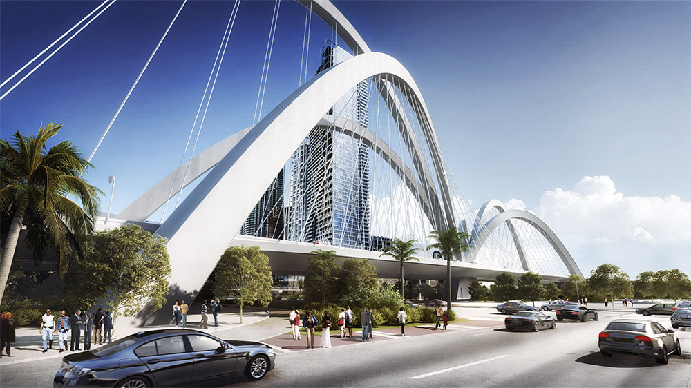 """The Fountain"" signature bridge design rendering"