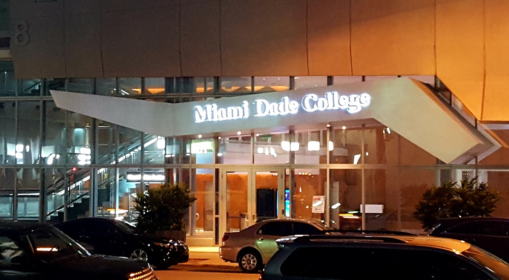 Exterior of Miami Dade College Culinary Institute at night in Downtown Miami